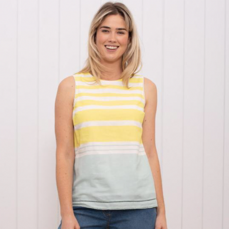 Stripe Sleeveless Blouse.